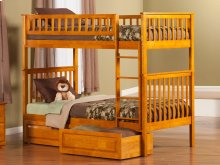 Woodland Bunk Bed Twin over Twin with Raised Panel Bed Drawers in Caramel Latte