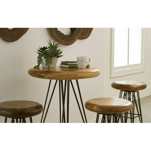 Smoothed Bar Stool on Black Metal Legs, Swivel Seat, Chamcha Wood, Natural