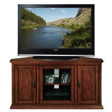 "46"" Oak Leaded Glass Corner TV Console #80385"