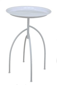 Metal Tripod Accent Table, White