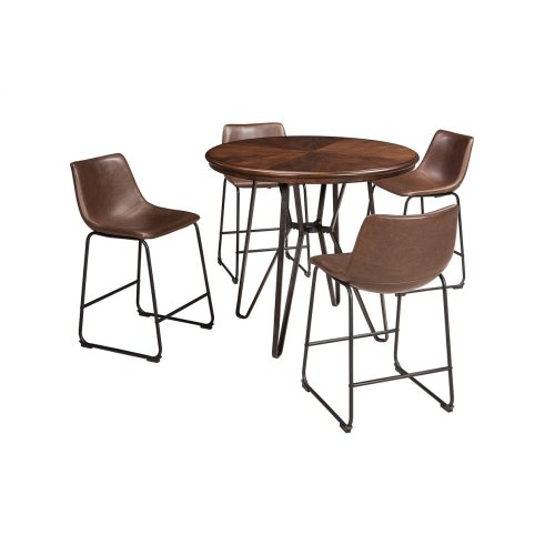 D372-01/15  Round Dining Room Table and 4 Upholstered Chairs