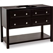 "48"" vanity with sleek black finish and clean lines, and complementary satin nickel hardware."