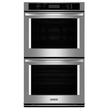 """KitchenAid® 30"""" Double Wall Oven with Even-Heat True Convection (Upper Oven) - Stainless Steel"""