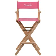 Embroidered Bar Height Directors Chair in Pink