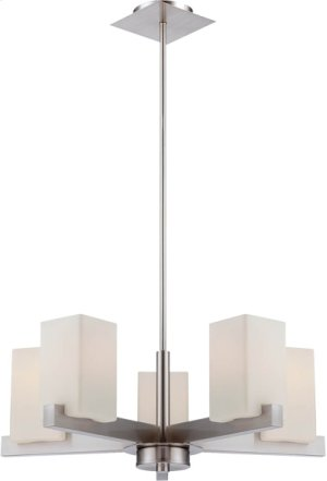 5-lite Chandelier, Ps/frost Glass Shade, E27 Type A 60wx5