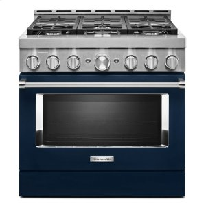 KitchenAid® 36'' Smart Commercial-Style Gas Range with 6 Burners - Ink Blue - INK BLUE