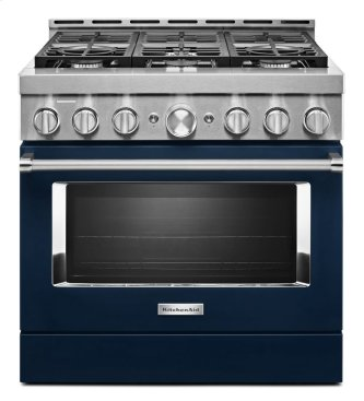 KitchenAid™ 36'' Smart Commercial-Style Gas Range with 6 Burners - Ink Blue