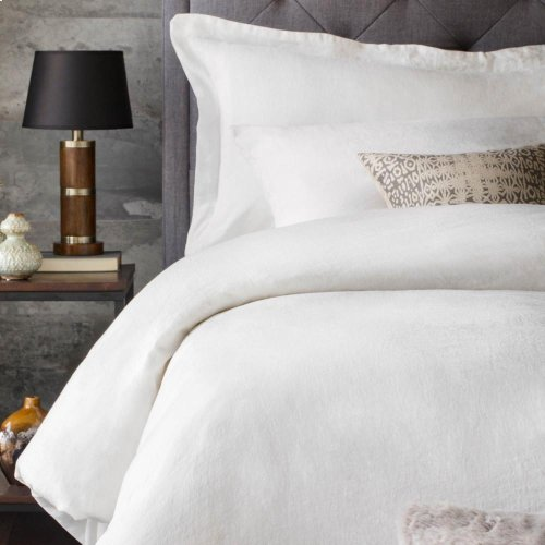 French Linen Duvet Set - King White
