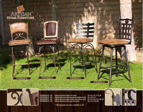"24 or 30"" Swivel Barstool w/Arms, Brown Microfiber Seat, branch legs"