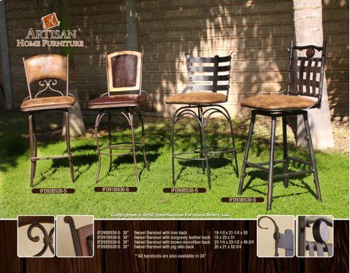 "24 or 30"" Swivel Barstool w/Arms, Brown Microfiber Seat & Back"