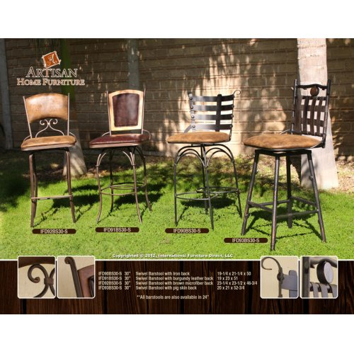 "24"" or 30"" Swivel Barstool Armless w/Brown Microfiber Seat, ""branch"" legs"