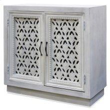 White Wash  36in W. X 16in D. X 16in Ht.  Orante Carved Jali 2 Door Cabinet in White Wash and Meta