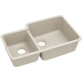 """Elkay Quartz Classic 33"""" x 20-11/16"""" x 9"""", Offset 40/60 Double Bowl Undermount Sink, Bisque"""