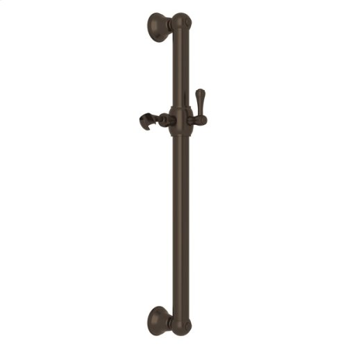 """Tuscan Brass 24"""" Decorative Grab Bar With Lever Handle Slider"""
