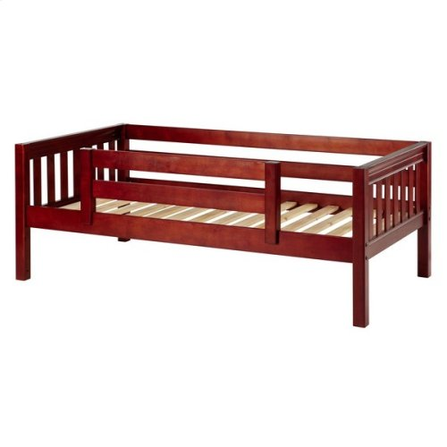 Daybed w/ Back and Front Safety Rails : Twin : Chestnut : Slat