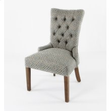 Striped fabric not allowed on this style. Button back chair [10 buttons] small nails on the OSB and arms.
