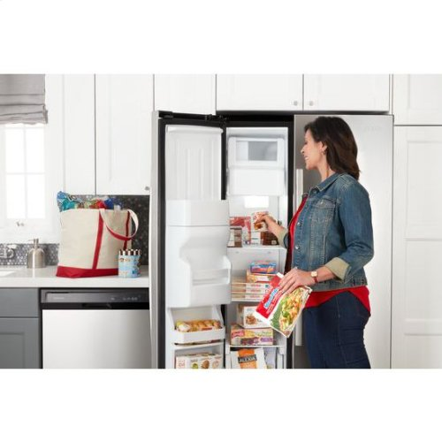 33-inch Side-by-Side Refrigerator with Dual Pad External Ice and Water Dispenser - black