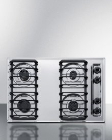 """30"""" Wide Sealed Burner Gas Cooktop In Chrome With Cast Iron Grates and Spark Ignition, Made In the USA"""
