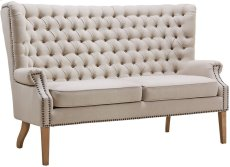 Abe Beige Linen Wing Loveseat Product Image