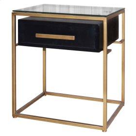 Firenze Floating End Table 1 Drawer Gold Frame, Espresso