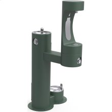 Elkay Outdoor EZH2O Bottle Filling Station Bi-Level, Pedestal with Pet Station Non-Filtered Non-Refrigerated Evergreen