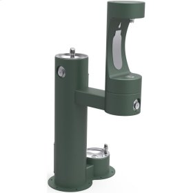 Elkay Outdoor ezH2O Bottle Filling Station, Bi-Level Pedestal with Pet Station NonFilter, NonRefrige FreezeResist Evergreen