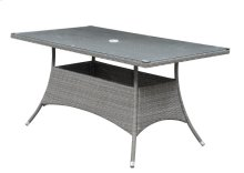 Rectangular Umbrella Dining Table-brown