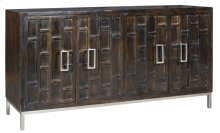 Bengal Manor Mango Wood 4 Door Ebony Sideboard w/ Metal Legs