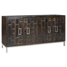 Bengal Manor Mango Wood 4 Door Ebony Sideboard w/ Metal Legs