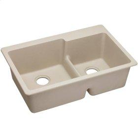 "Elkay Quartz Classic 33"" x 22"" x 9-1/2"", 60/40 Double Bowl Top Mount Sink with Aqua Divide, Putty"