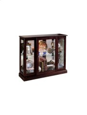 Lighted 1 Shelf Console Display Cabinet in Cherry Brown Product Image