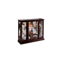 Lighted 1 Shelf Console Display Cabinet in Cherry Brown