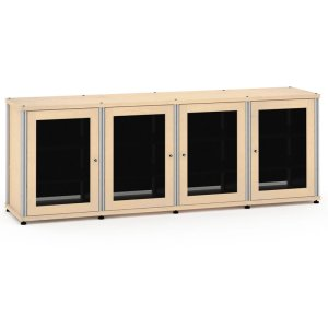 Salamander DesignsSynergy Solution 347, Quad-Width AV Cabinet, Maple with Aluminum Posts