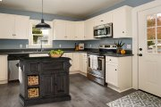 Tuscan Retreat® Medium Granite Top Kitchen Island With 2 Baskets - Weathered Gray With Antique Pine Product Image