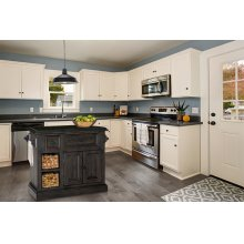Tuscan Retreat® Medium Granite Top Kitchen Island With 2 Baskets - Weathered Gray With Antique Pine