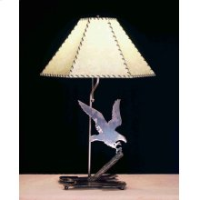 """26.5""""H Strike of the Eagle Faux Leather Table Lamp"""