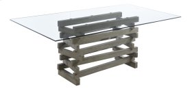 Complete Dining Table-rectangular Glass Top-wood Base-driftwood Finish