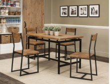 Adler Oak/blk Dining Table & 4 Chairs