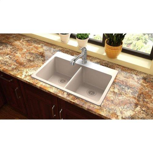 "Elkay Quartz Classic 33"" x 22"" x 9-1/2"", Equal Double Bowl Drop-in Sink, Putty"