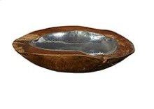 Teak and Silver Hanging Bowl