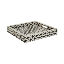 Small Weave Pattern Square Tray In Black and White Resin