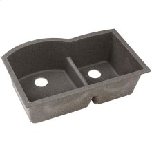 "Elkay Quartz Classic 33"" x 22"" x 10"", Offset 60/40 Double Bowl Undermount Sink with Aqua Divide, Slate"