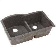 "Elkay Quartz Classic 33"" x 22"" x 10"", Offset 60/40 Double Bowl Undermount Sink with Aqua Divide, Slate"
