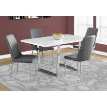 """DINING TABLE - 36""""X 60"""" / WHITE GLOSSY / CHROME METAL"""