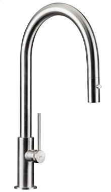 Solid Stainless Steel Faucet With A Pull Out Dual Spray