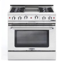 """36"""" Gas Self Clean Range, Rotisserie, 4 Open Burners, 12"""" Thermo-Griddle"""