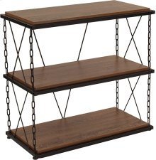 Vernon Hills Collection Antique Wood Grain Finish Two Shelf Bookshelf with Chain Accent Metal Frame