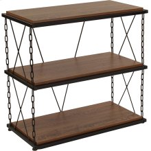 """Vernon Hills Collection 3 Shelf 29""""H Chain Accent Metal Frame Bookcase in Antique Wood Grain Finish"""