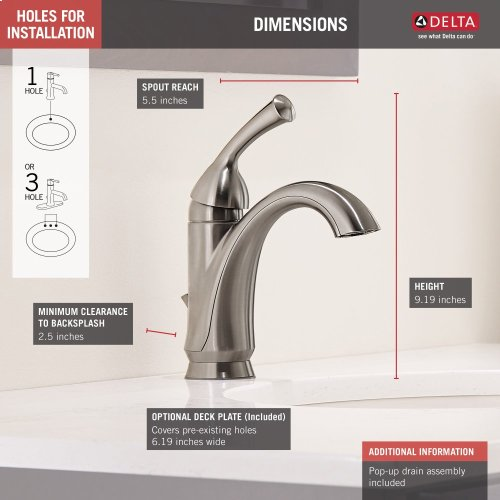 Stainless Single Handle Centerset Bathroom Faucet