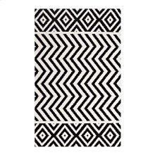 Ailani Geometric Chevron / Diamond 5x8 Area Rug in Black and White